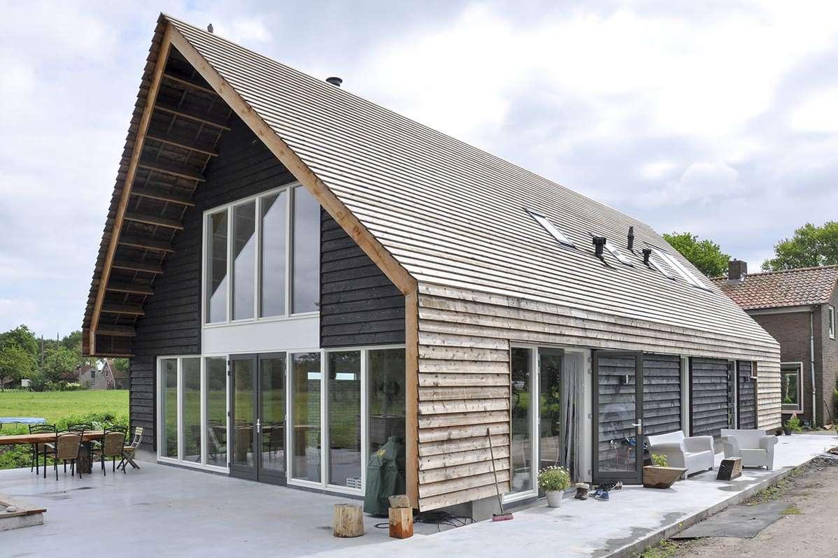 Houten woonhuis orga architect - Interieur gevelbekleding houten ...