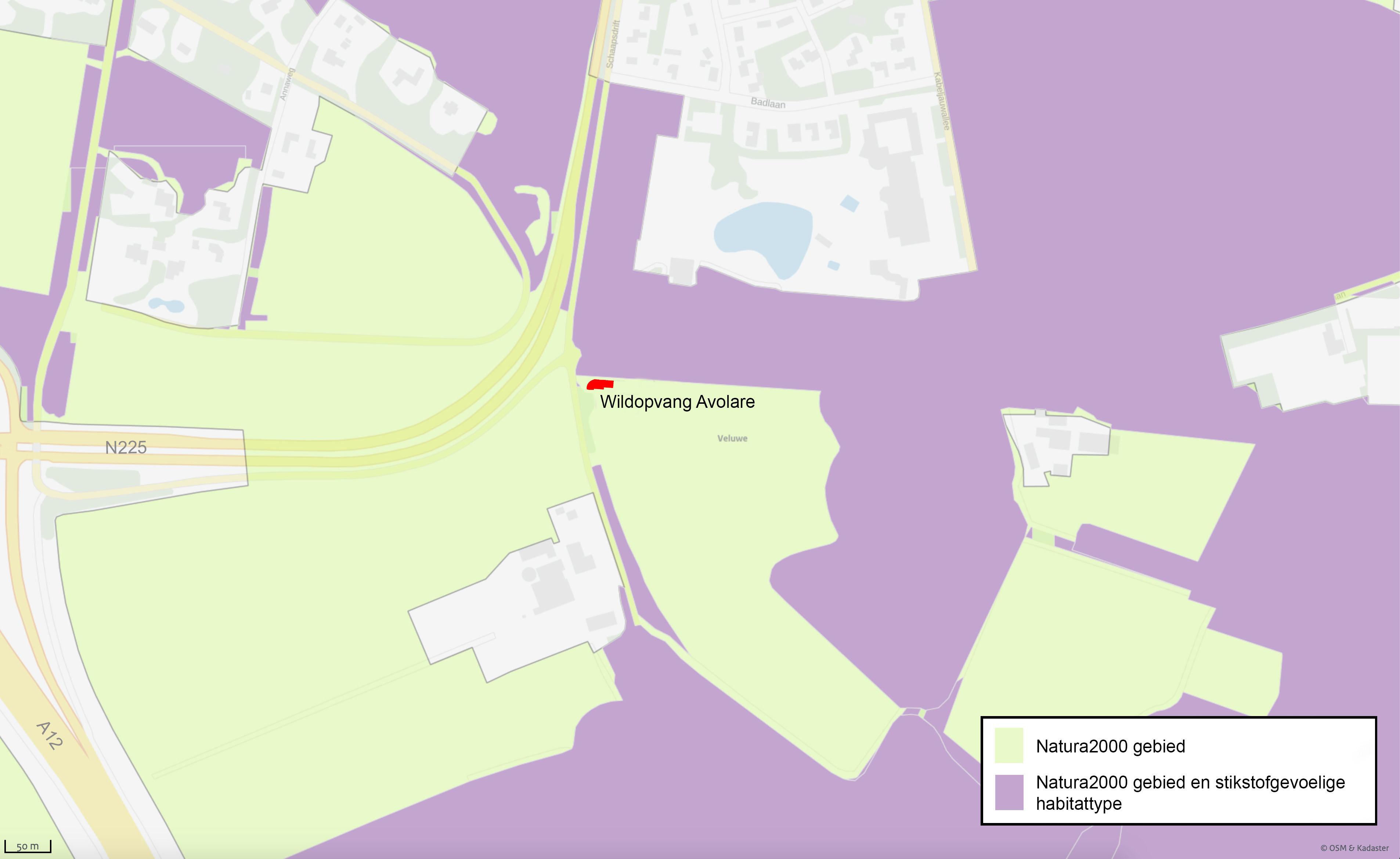 Kadasterkaart Natura 2000 Wildopvang Avolare